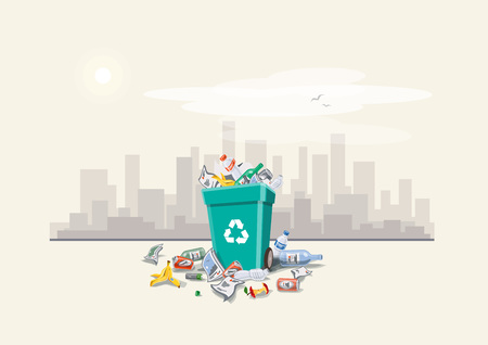 Vector illustration of littering waste that have been disposed improperly around the dust bin on street exterior with city skyscrapers skyline in the background. Garbage can full of overflowing trash. Trash is fallen on the ground, cartoon style. Vectores
