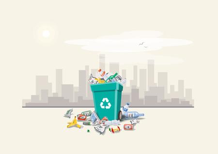 reciclar: Ilustración del vector de los residuos tirar basura que se han dispuesto inadecuadamente alrededor del cubo de la basura en la calle exterior con rascacielos Horizonte de la ciudad en el fondo. Cubo de basura lleno de basura que desborda. La basura ha caído en el estilo de dibujos animados suelo. Vectores