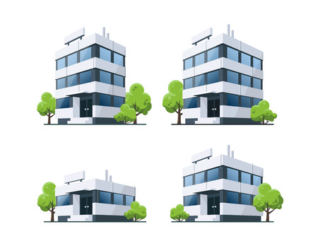 green buildings: Four office vector buildings illustrations in perspective view with blue glass facade and green trees in cartoon style. Isolated on white background.
