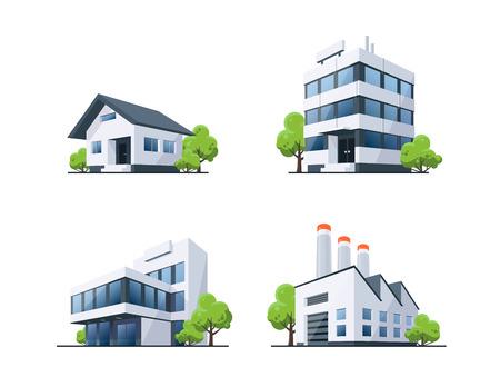 Quattro edifici vettoriali illustrazioni in prospettiva con alberi verdi in stile cartone animato. Casa familiare, ufficio di lavoro e fabbrica. Vettoriali