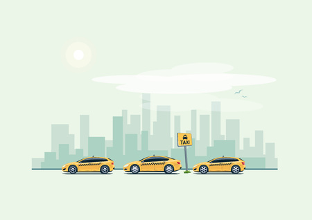 Vector illustration of yellow taxi cars parking along the city street in cartoon style. Hatchback, station wagon and sedan standing in a row with taxi pickup point sign. City skyscrapers skyline in background. 向量圖像