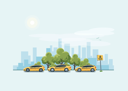 green street: Vector illustration of yellow taxi cars parking along the city street in cartoon style. Hatchback, station wagon and sedan standing in a row with taxi pickup point sign. Green trees and city skyscrapers skyline in background. Illustration
