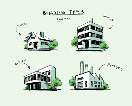 hand work: Four vector buildings sketch drawigns in perspective view with trees. Family house, work office and factory building. Hand drawn cartoon vector illustration. Illustration