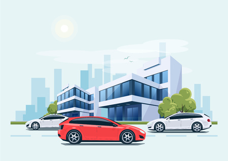 Vector cartoon style illustration of street with cars and modern business office building with green trees in backround. Heavy traffic on the road. House has glass facade. City skyscrapers skyline on green blue background. Illustration