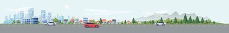 Plana ilustración vectorial estilo de dibujos animados de la calle paisaje urbano con los coches, edificios de oficinas horizonte de la ciudad, casas unifamiliares en la pequeña ciudad y la montaña con árboles verdes en apaisada. El tráfico en la carretera. Ilustración de vector