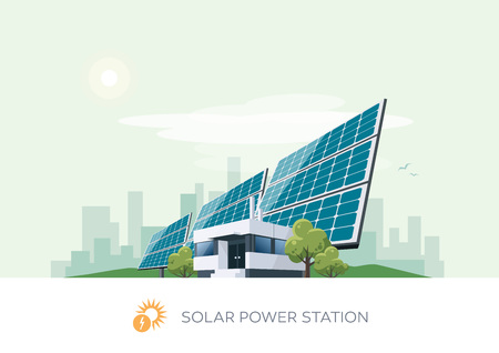 powerhouse: Vector illustration of solar power station building icon with sun and urban city skyscrapers skyline on green turquoise background.