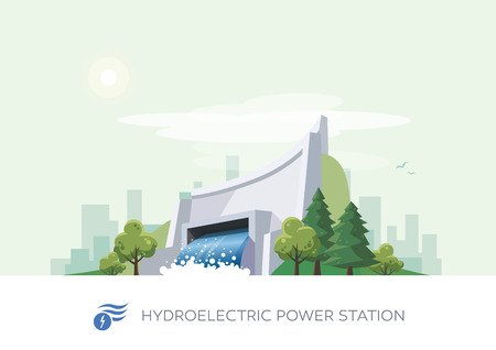 hydroelectricity: Vector illustration of hydroelectric water power station building icon with sun and urban city skyscrapers skyline on green turquoise background. Illustration