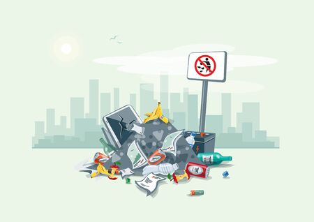 Vector illustration of littering waste pile that have been disposed improperly, without consent, at an inappropriate location around on the street exterior with city skyscrapers skyline in the background. Trash is fallen on the ground and creates a big st