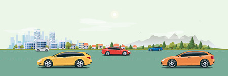 green street: Flat vector cartoon style illustration of urban landscape street with cars, skyline city office buildings, family houses in small town and mountain with green trees in backround. Traffic and many cars on the road.