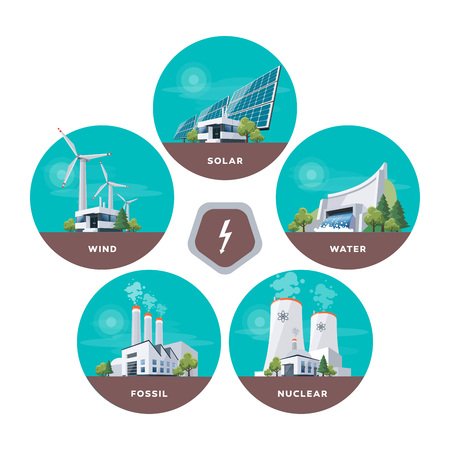 Vector illustration of solar, water, fossil, wind, nuclear power plants.