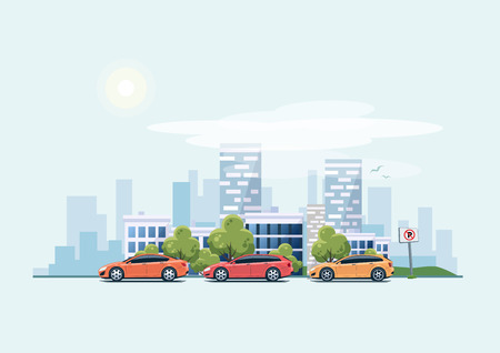 combi: Vector illustration of modern cars parking along the town street in cartoon style. Hatchback, station wagon and sedan parked on wrong place with no parking sign. City skyscrapers building office skyline on blue  .