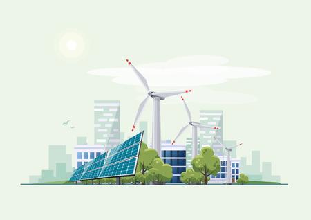 Les panneaux solaires et des éoliennes en face de la ligne d'horizon de la ville. Eco thème de la ville verte. l'approvisionnement en énergie durable écologique. Vecteurs
