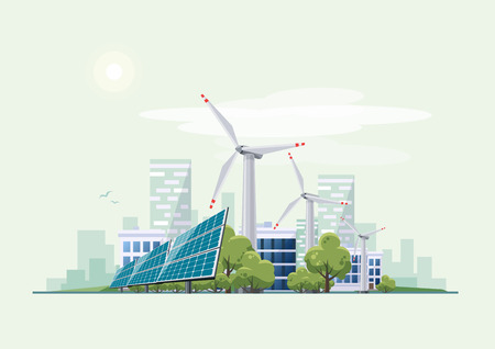 Solar panels and wind turbines in front of the city skyline . Eco green city theme. Ecological sustainable energy supply.