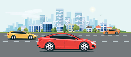 city landscape: Flat vector cartoon style illustration of urban landscape city street with cars, skyline office buildings and green trees. Illustration