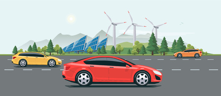green street: Flat vector cartoon style illustration of landscape street with electric cars, solar panels, wind turbines and mountain with green trees in backround. Sustainable traffic on the road. Illustration