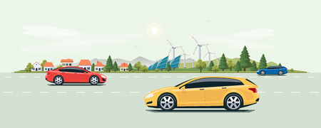 green street: Flat vector cartoon style illustration of urban landscape street with cars, city buildings, family houses in small town. Solar panels, wind turbines and mountain with green trees in backround. Sustainable electric cars on the road.