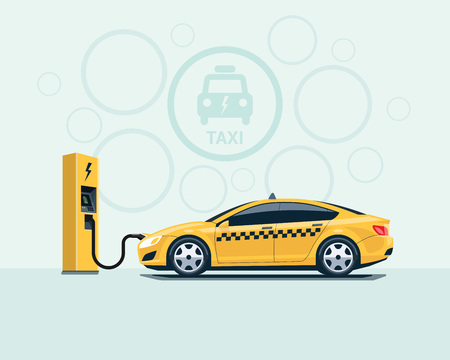 Vector illustration of yellow electro taxi car parking and recharging in cartoon style. Electric taxi car charging at the charger station. Electromobility eco future transportation e-motion concept. Illustration