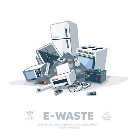e waste: The e-waste electrical and electronic appliance trash pile. Illustration