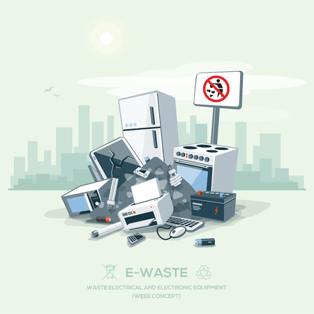 Vector illustration of e-waste garbage pile on the street exterior with city skyscrapers skyline in the background.