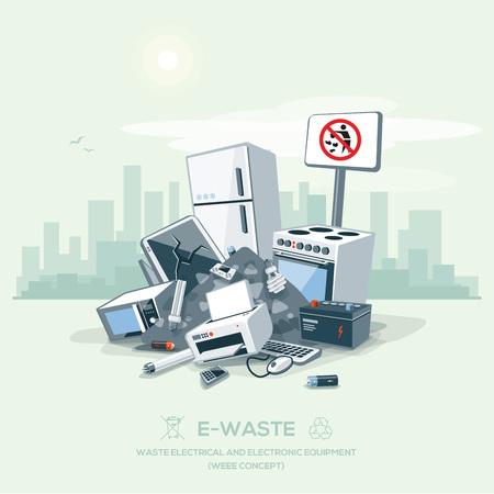 Vektor-Illustration von e-Abfall Müll Haufen auf der Straße außen mit Stadt Wolkenkratzer Skyline im Hintergrund.