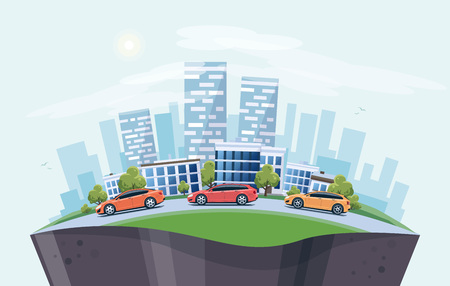 Vector illustration of modern cars parking along the town street in cartoon style arranged in arc.