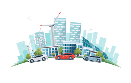 Vector illustration of modern sustainable city with cars on street in cartoon style arranged in arc.
