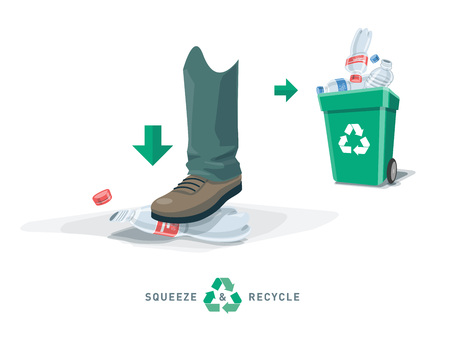 Foot depress empty pet bottle and put into recycling trash bin. Squeezed plastic trash flat under the shoe with green garbage can. Isolated vector illustration on white background. Reduce the volume of recyclate.