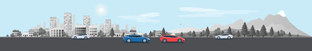 Flat vector cartoon style illustration of urban landscape street with cars, skyline city office buildings, family houses in small town and mountain with green trees in backround. Traffic on the road. Wide horizontal panorama. 向量圖像