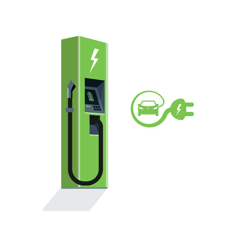 Green charging station for electric car. Isolated flat vector charging power station illustration on white background with electricity battery sign, cable and plug.