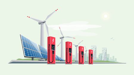 Charging Station for Electric Car with Solar Panels and Wind Turbines. Vector Illustration