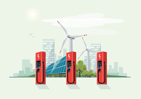 Charging Station for Electric Car with Solar Panels and Wind Turbines. City skyline with clouds and sun in the background.