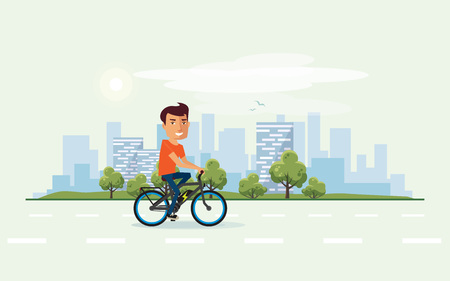 Vector illustration of a smiling man riding an electric bicycle in the city park in cartoon style. Healthy lifestyle cyclist enjoys trip on ebike. Urban skyline building landscape with trees behind the person on bike.