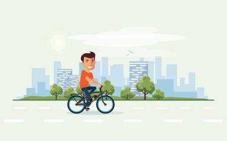 Vectorillustratie van een glimlachend mens die een elektrische fiets in het stadspark berijden in beeldverhaalstijl. Gezonde levensstijl fietser geniet van reis op ebike. Stedelijke skyline gebouw landschap met bomen achter de persoon op de fiets.