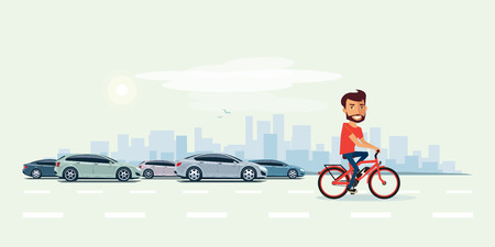Vector illustration of smiling man riding an electric bicycle in the city with cars in cartoon style. Healthy lifestyle ebike cyclist is faster then cars in the town street. Urban skyline building landscape with traffic jam behind the person on bike.