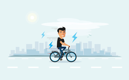 Vector illustration of man riding an electric bicycle in the city in cartoon style. Ebike new future technology in urban transporation. City skyline behing the electro cyclist. Illustration