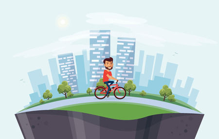 Vector illustration of a smiling man riding an electric bicycle in the city park in cartoon style. Healthy lifestyle cyclist enjoys trip on ebike. Urban skyline building landscape behind the person on bike arranged in arc. Earth globe section underneath.