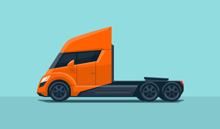 Flat vector illustration of an orange semi trailer truck in futuristic modern design with sleeper cabin, side view, isolated on blue green background in cartoon style. Illustration
