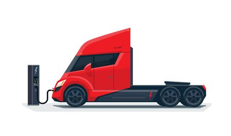 Flat vector illustration of a abstract futuristic red electric semi trailer truck in modern design with sleeper cabin charging at the charger station. Side view, isolated on white background in cartoon style.
