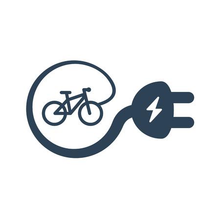 Ícone de símbolo de bicicleta elétrica isolado no fundo branco. Silhueta da linha da E-bicicleta com o raio da iluminação do flash da eletricidade que cria o e-sinal da tomada do cabo.