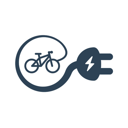 Isolated electric bike symbol icon on white background. E-bike line silhouette with electricity flash lighting thunderbolt creating cable plug e-sign. Иллюстрация