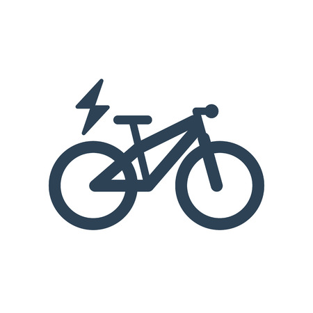 Isolated mountain electric bike symbol icon on white background. E-bike line silhouette with electricity flash lighting thunderbolt sign.