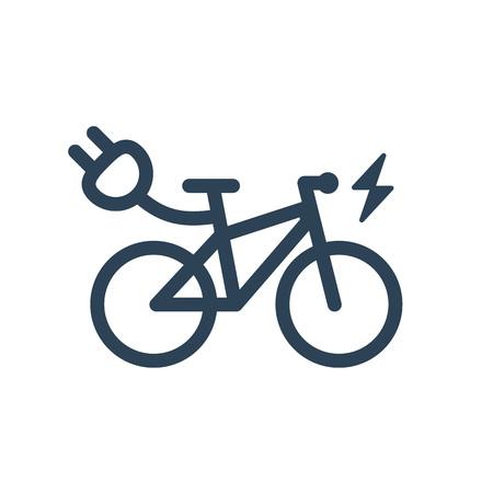 白い背景の分離の電気都市バイク シンボル アイコン。サンダー ボルトの記号を照明電気フラッシュ e バイク ライン シルエットをトレッキングしま