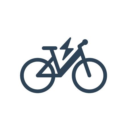 Icona elettrica isolata di simbolo della bici di città su fondo bianco. Sagoma di linea di e-bike trekking con segno di fulmine di illuminazione flash elettrico.