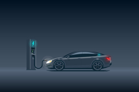 Flat vector illustration of a luxury black electric car charging at the charger station. Electromobility e-motion concept. Electromobility eco future transportation e-motion concept. Ilustração