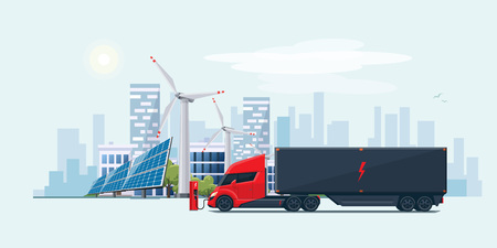 Flat vector illustration of an abstract futuristic white electric semi trailer truck with trailer in modern design with sleeper cabin charging at the charger station in front of the solar panels and wind turbines and city skyline.