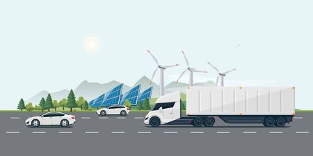 Flat vector cartoon style illustration of landscape street with electric cars, futuristic semi truck, solar panels, wind turbines and mountain countryside in backround. Sustainable ecology transportation concept.