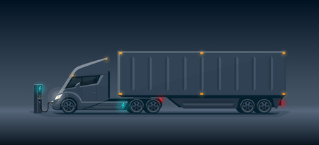Flat vector illustration of an abstract futuristic black electric semi trailer truck with trailer in modern design with sleeper cabin charging at the charger station. Side view, dark theme with shining lights in cartoon style.