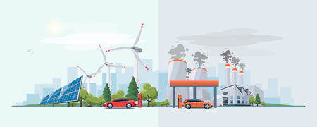 Vector illustration of renewable electric vs. fossil pollution power electricity resource. Electric car charging at  charger station with solar panels and wind turbines and fossil car refueling petrol at gas station. City building skyline in the background.