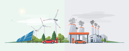 Vector illustration of renewable electric vs. fossil pollution power electricity resource. Electric car charging at  charger station with solar panels and wind turbines and fossil car refueling petrol at gas station.