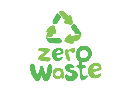 Zero waste handwritten text with green recycling sign isolated on white background. Zero landfill concept illustration in cartoon style.  イラスト・ベクター素材